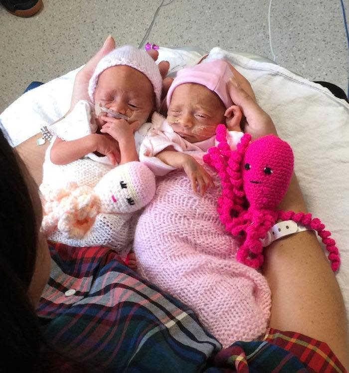 premature babies with crochet octos