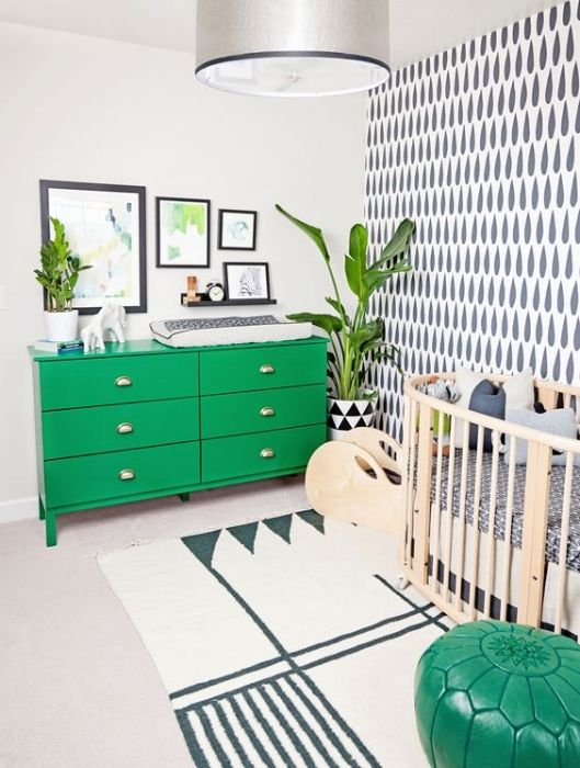 green furniture in the nursery