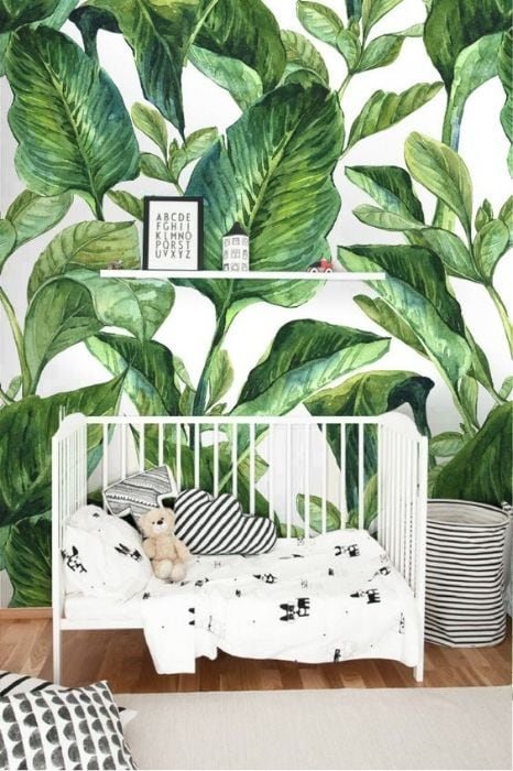tropical leaf wall decal