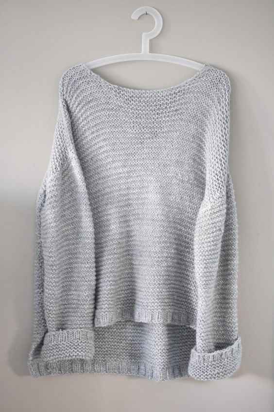 Grey knitted sweater in garter stitch