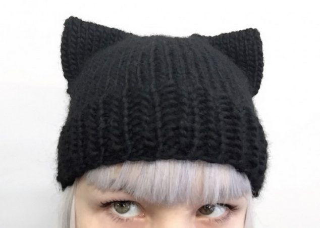 black cat hat knit for halloween