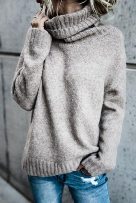 knitted oversized turtleneck sweater