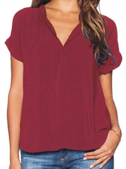 v neck plain blouse in cranberry red