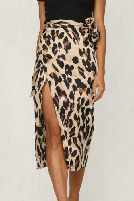 leopard print skirt with open slit