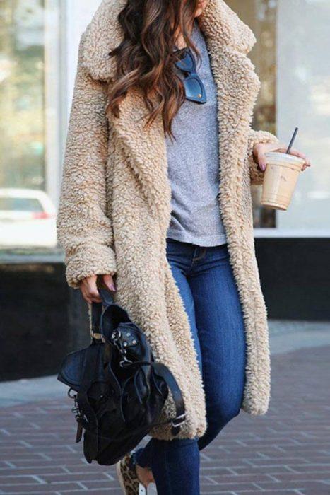 long casual teddy coat