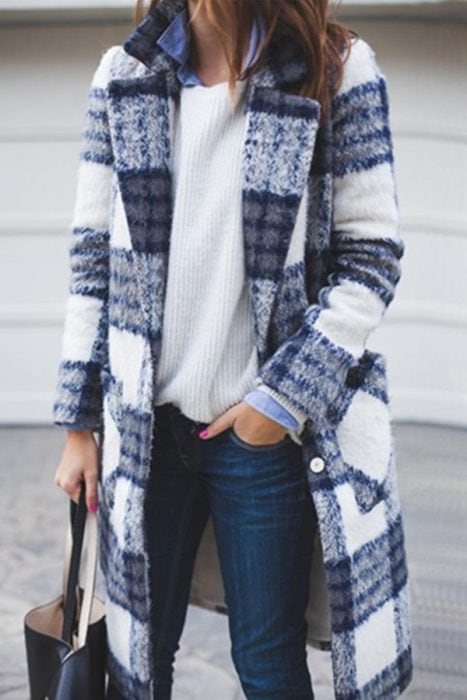 long plaid cardigan in blue and white check