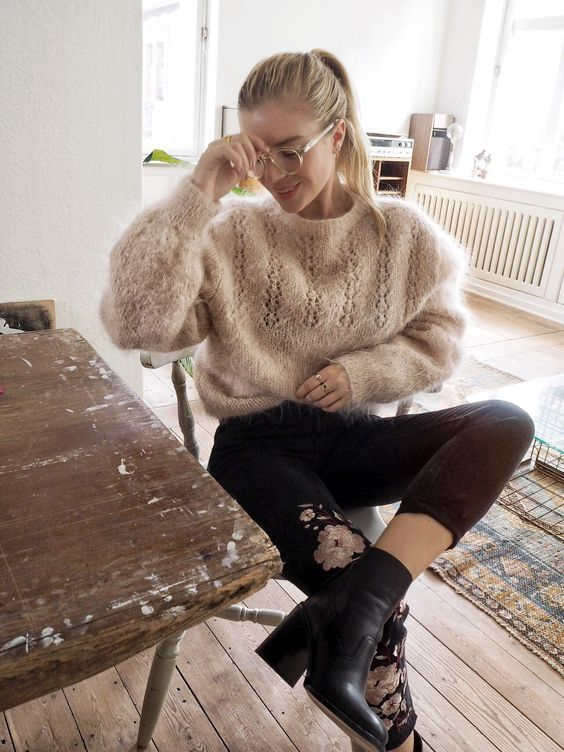 sweaters knit with mohair with intricate designs