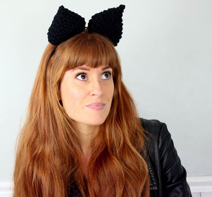 Black cat ears knits for halloween
