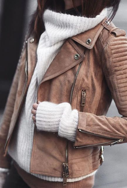white turtleneck knitted sweater with brown leather jacket