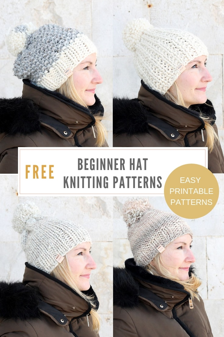 Free beginner hat knitting patterns