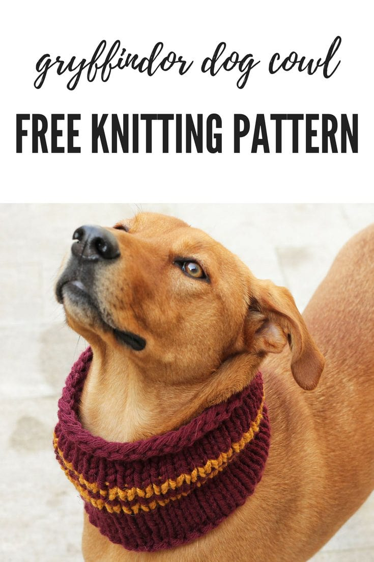 The Gryffindor Dog Cowl Knitting Pattern