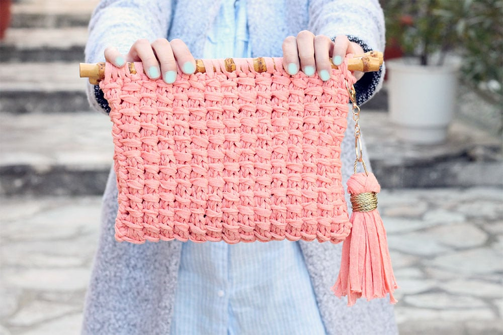bamboo stitch knitted clutch bag
