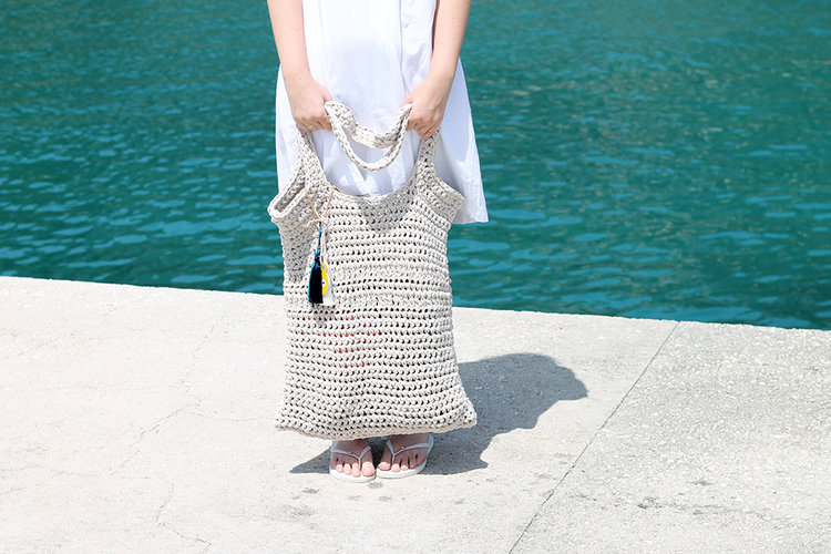 large crochet beach bag