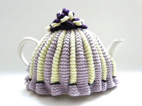 traditional knit pleated tea cosy