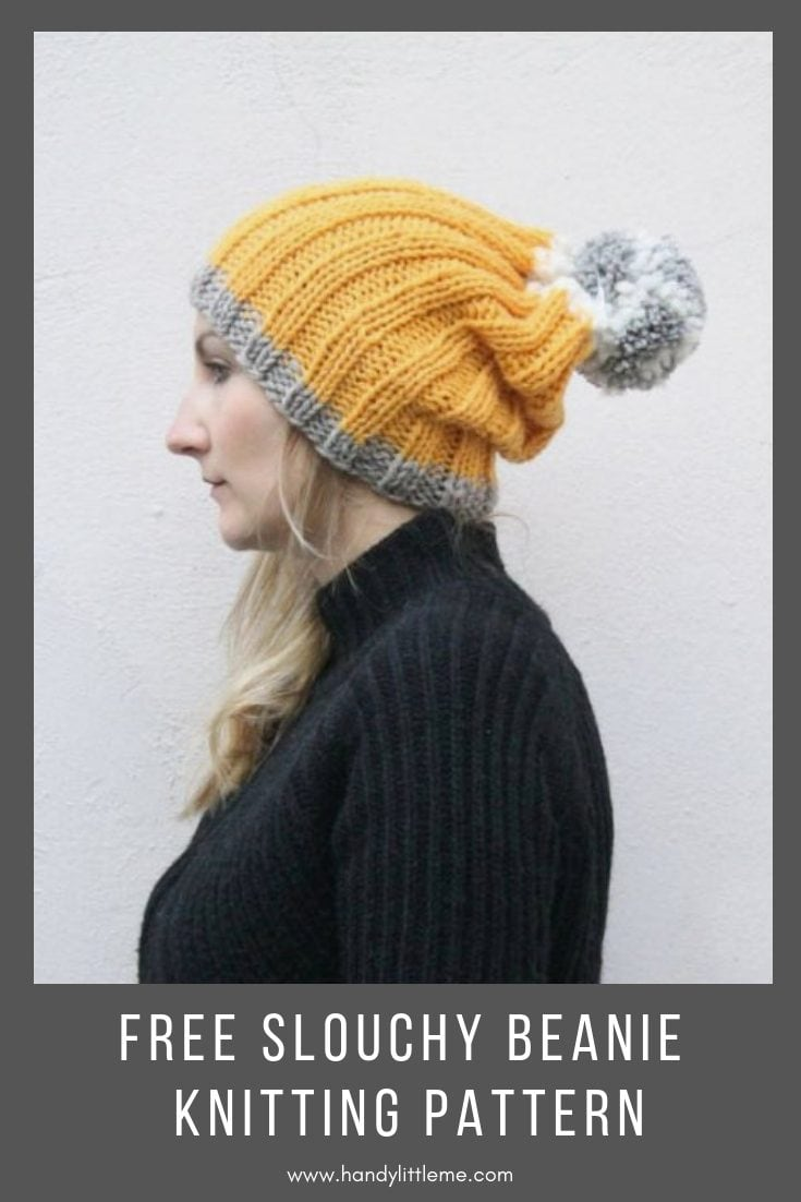 Easy Slouchy Beanie Free Knitting Pattern