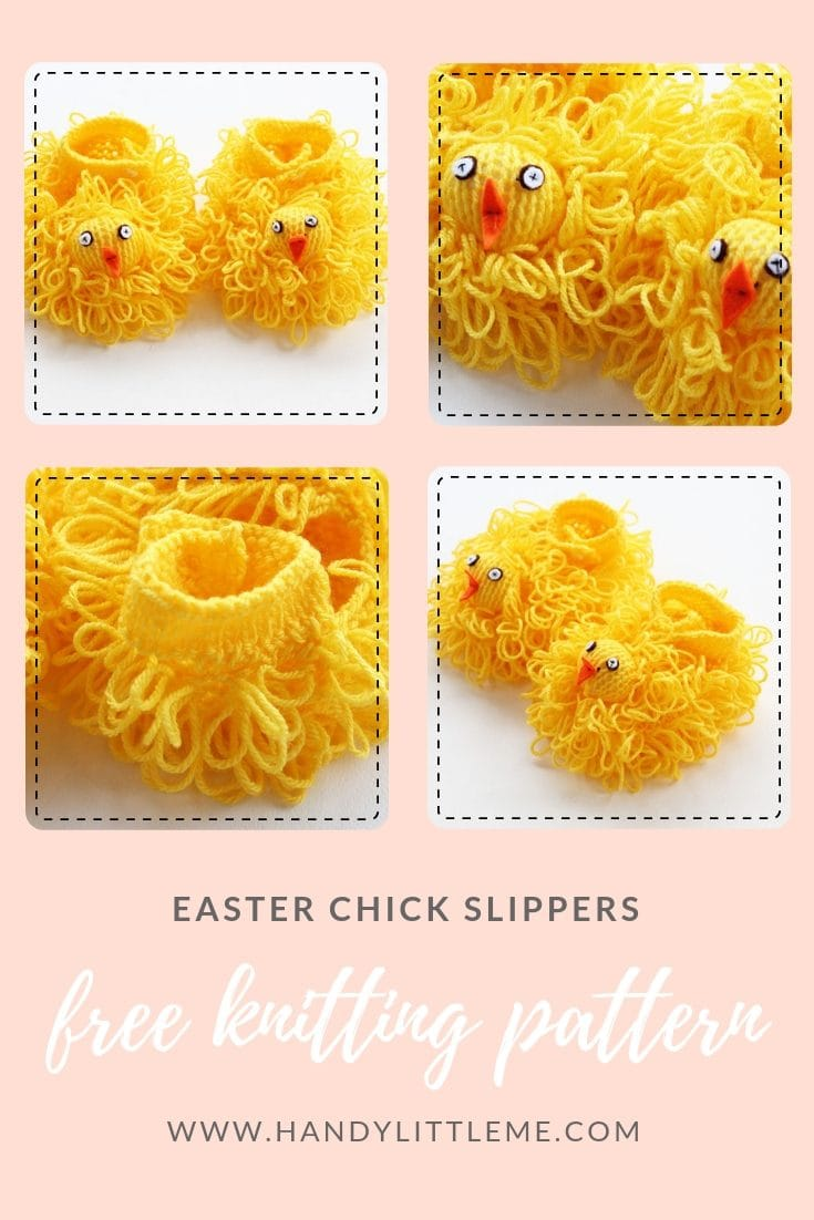 Easter Chick Slippers Knitting Pattern