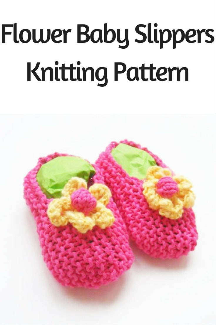 Flower Baby Slippers Knitting Pattern