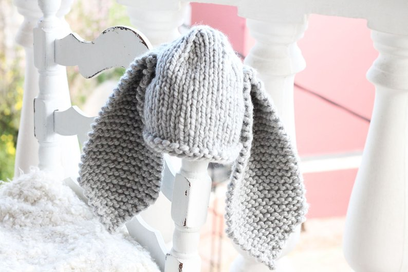 grey knitted bunny hat with long ears