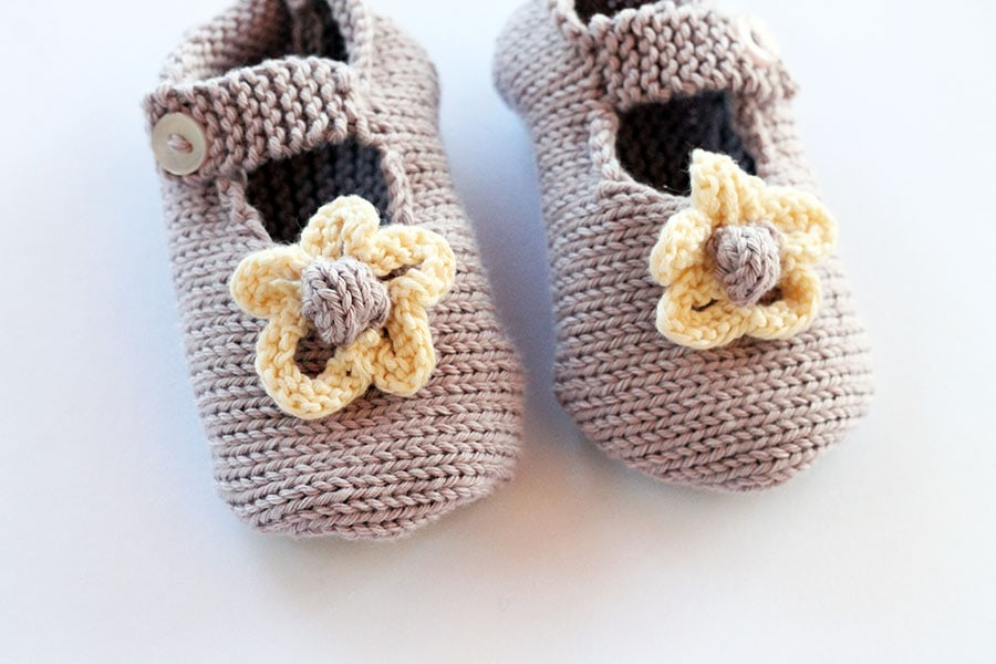 knitted baby girl shoes with button strap