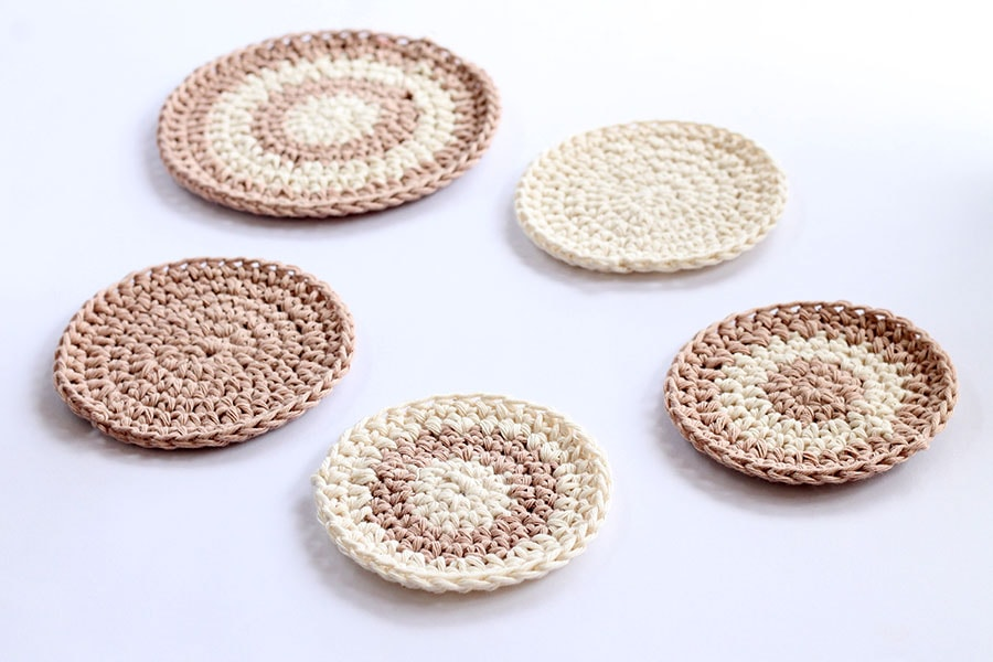 crochet cotton circle coasters