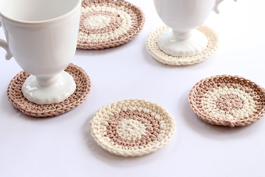 crochet coasters made from cotton