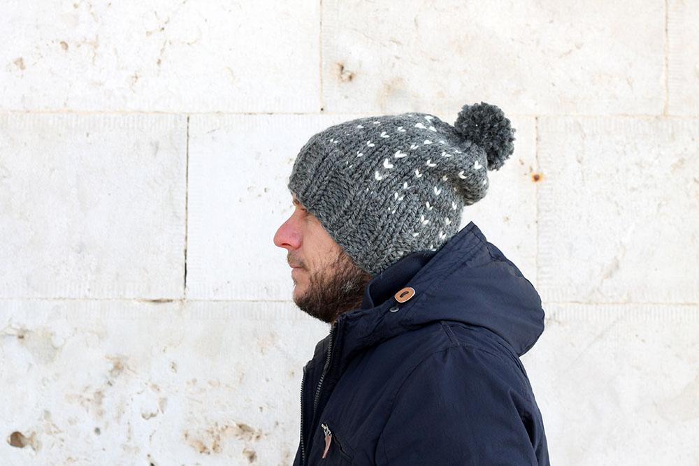slouchy beanie hat with fair isle pattern