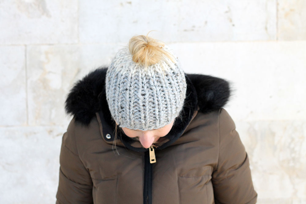 easy ribbed messy bun hat pattern