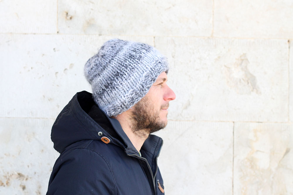 mens winter beanie hat knitting pattern