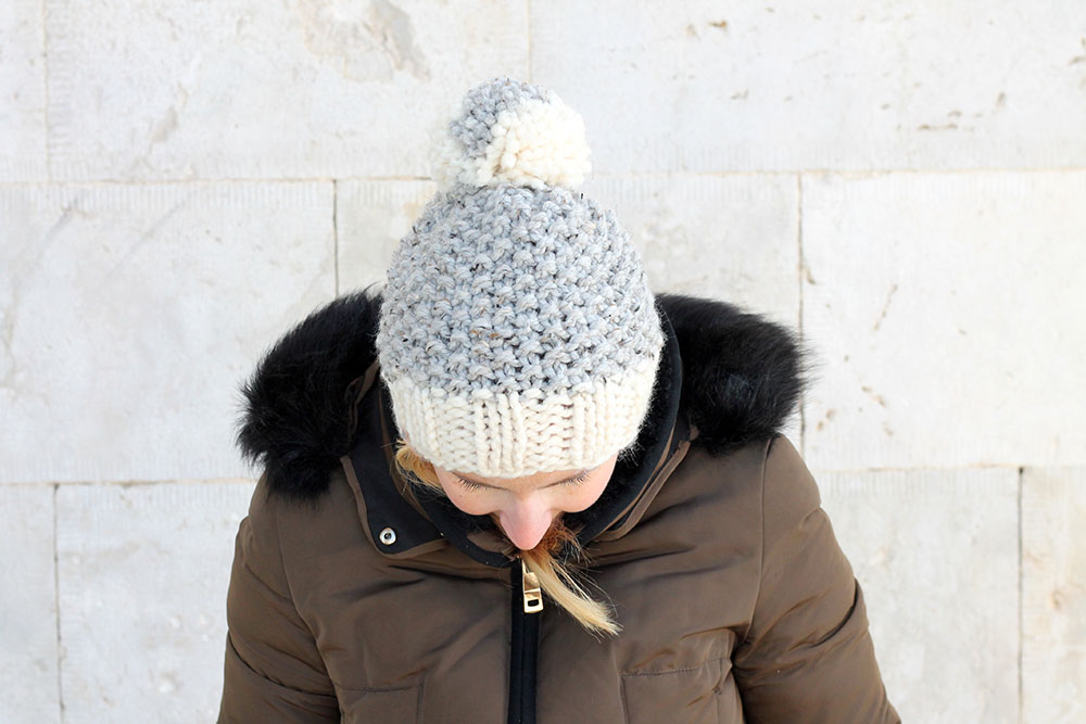 moss stitch beanie hat with pom pom
