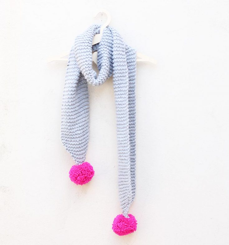 pom-pom-knitted-grey-scarf
