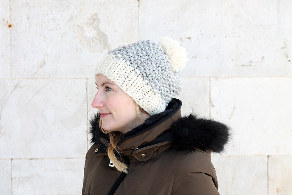 slouch knit beanie with pom pom
