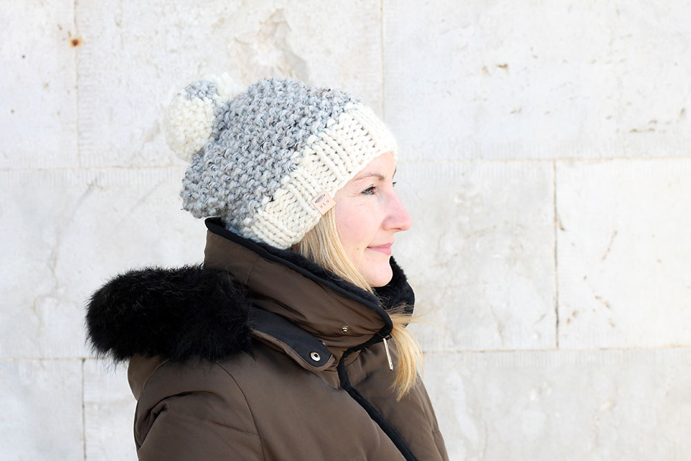 seed stitch knitted hat for women