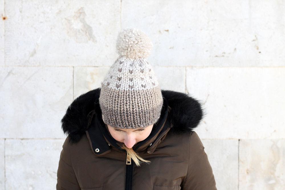 winter pom pom beanie hat
