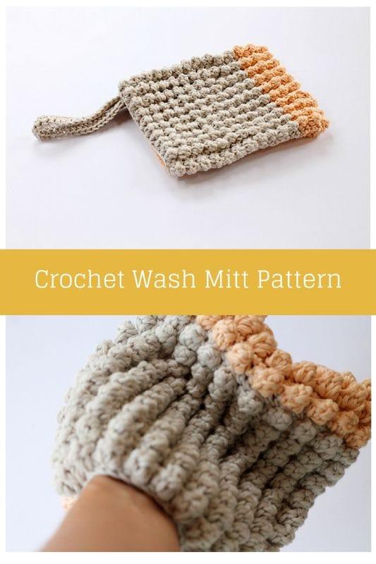 Crochet wash mitt pattern free