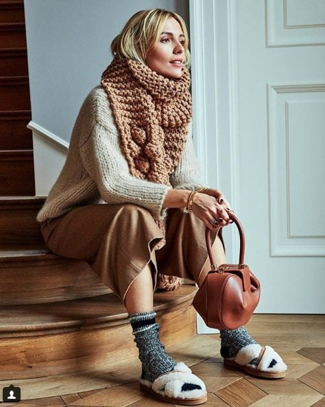 bulky knit scarf and sweater outfit
