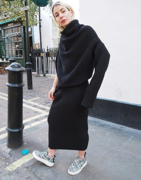 knitted black dress outfit