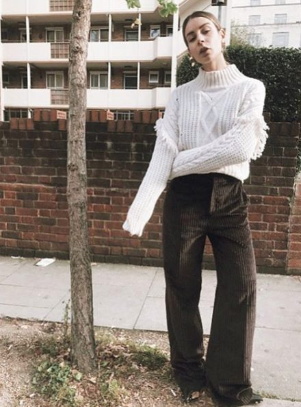 cable sweater and cordouroy trousers outfit