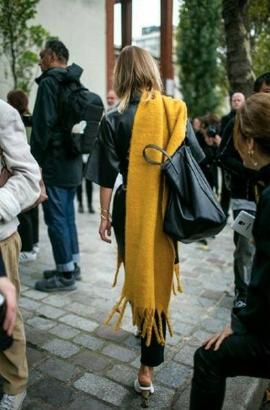long mustard scarf outfit