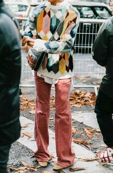 multi coloured knit sweater outfit