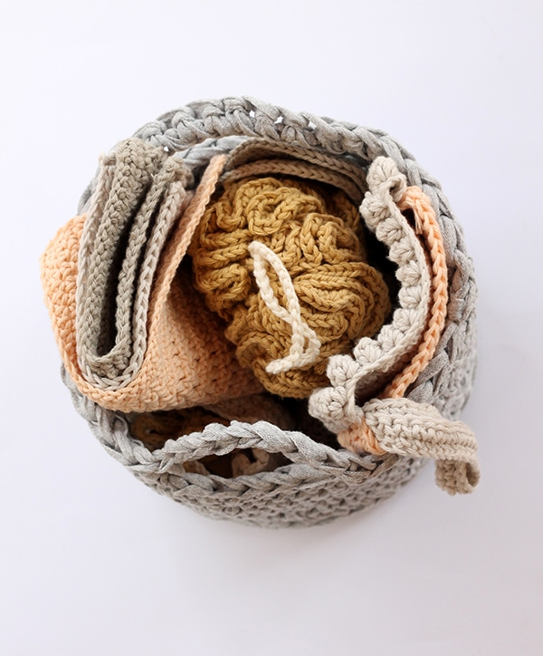 crochet basket for the bathroom