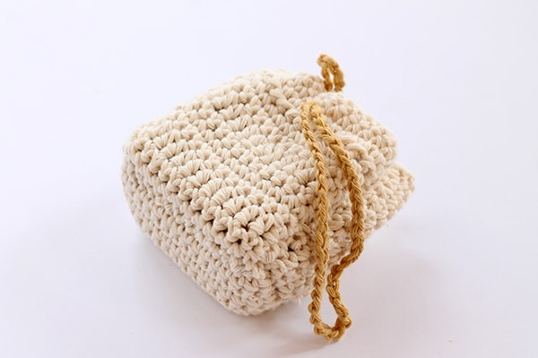 crochet soap sack in cotton