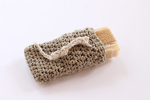 crochet soap saver bag made from cotton