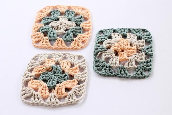 crochet granny squares in cotton