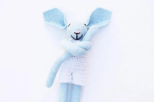 blue knit bunny