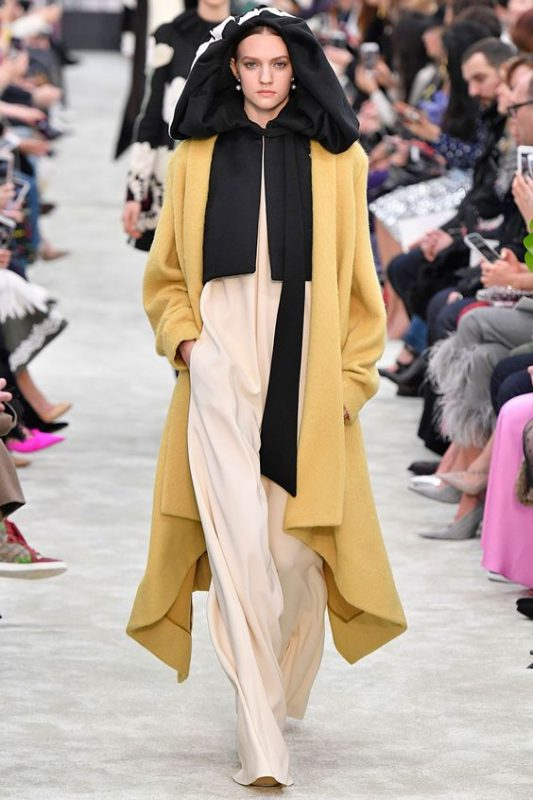 hooded cloak on the catwalk