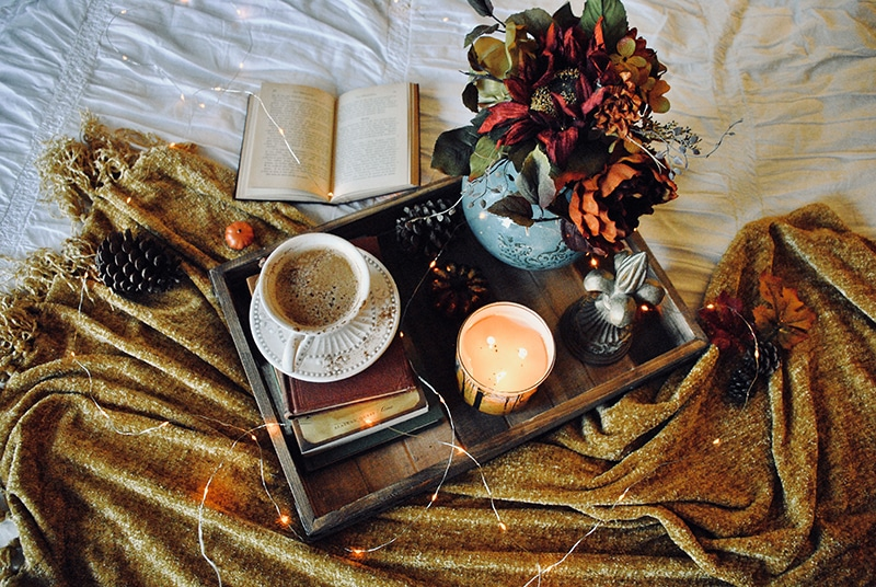 fall home decor ideas tea and candles on a wooden tray
