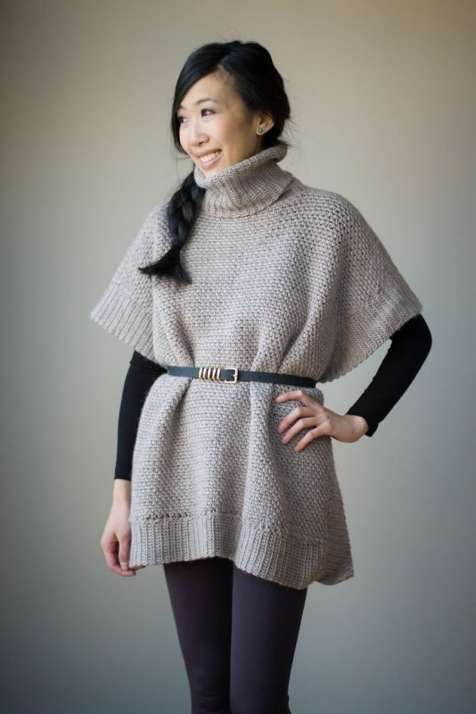 crochet poncho with belted waist