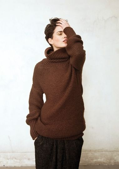 dark brown oversized knit sweater