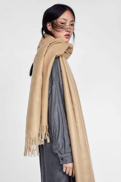 oversized felted camel scarf