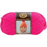 Lion Brand Yarn 135-400 Hometown USA Yarn, Neon Pink